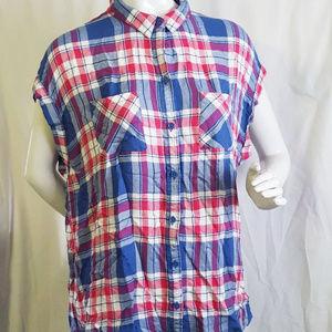 BeachLunchLounge Plaid Cap Sleeve Shirt Top Cute L